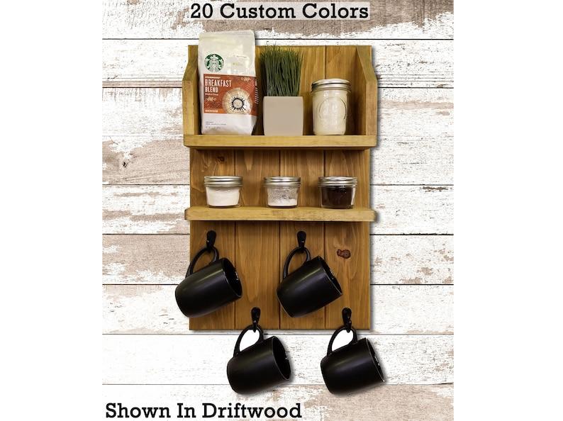 Sunrise Coffee & Tea Station Wall Shelf 20 Stain Colors  image 0