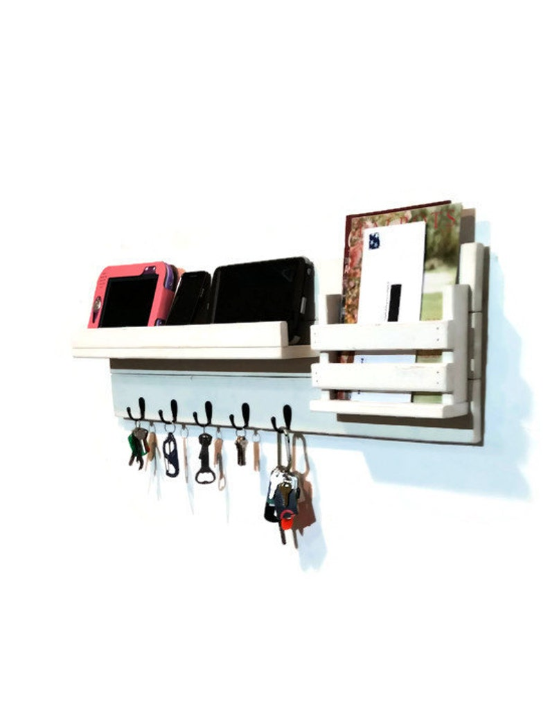 Farmhouse Extra Large Family Rustic Wall Mount Organizer and Shelf. Customize with up to 8 hooks & 20 Colors Shown in Bright Ivory White