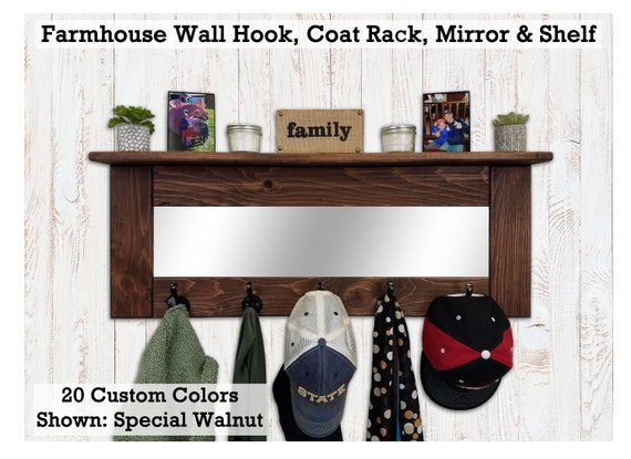 Oxford Wall Hooks Mirror And Shelf 20 Stain Colors Etsy