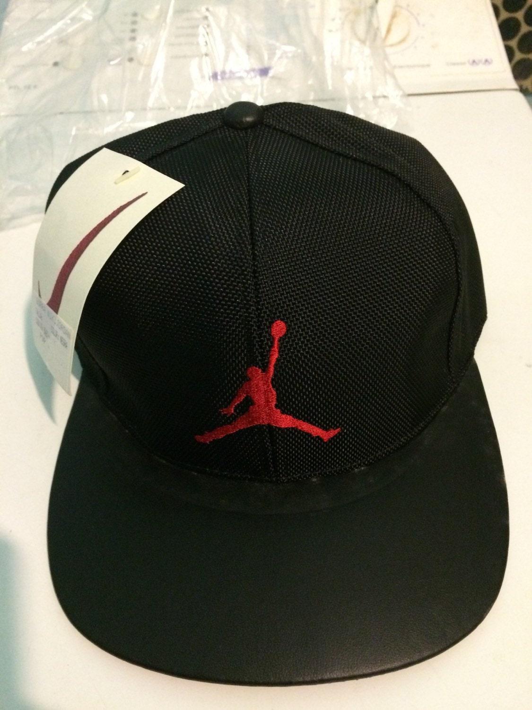 Very Rare Vintage Cap Hat Nike Air Jordan Michael Leather 90  f7faf8b8451