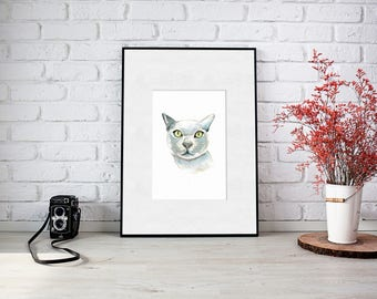 Burmese Cat Print or Russian Blue (Digital Download) 5X7 - 3 Print Sizes Included A4, 8x10, 5x7 - Watercolour Painting - Gift - Pet Portrait