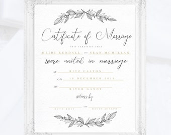printable digital custom marriage certificate gold floral wedding certificatekeepsakeofficiant giftquaker minimal marriage certificate
