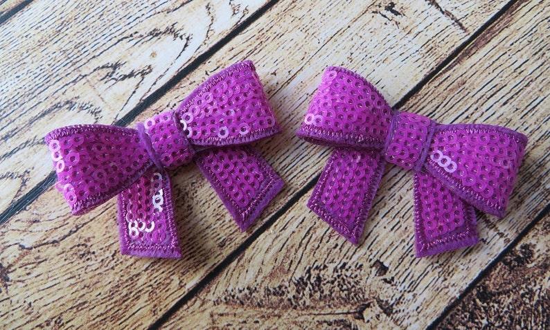 Sparkle DIY Supplies Headbands Hair Clips Hair Accessories Neon Purple Sequins Two Inch Bows 2-2 Sequin Bows Neon Purple