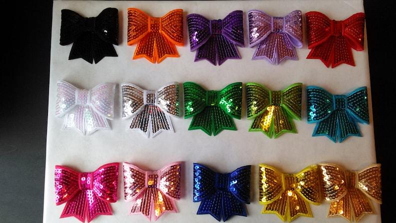 DIY Supplies Headbands Hair Clips Hair Accessories Orange Sequins Sparkle Three Inch Bows Extra Large 3 Orange