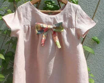 Pink linen dress with a lovely liberty fabric bow