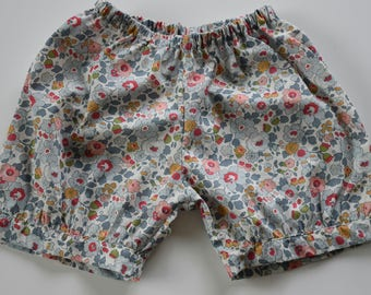 Shorts with elastic waistband sewn liberty Betsy porcelain