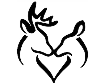 Buck and Doe Kissing Stencil Made from 4 Ply Mat Board-Choose a Size-From 5x7 to 24x36
