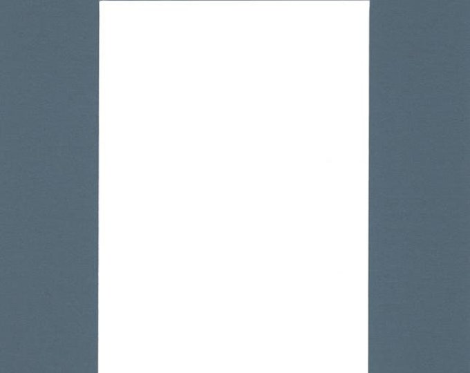 Pack of (2) 16x20 Acid Free White Core Picture Mats cut for 12x16 Pictures in Slate Blue