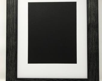 """22x28 1.75"""" Rustic Black Solid Wood Picture Frame with White Mat Cut for16x20 Picture"""