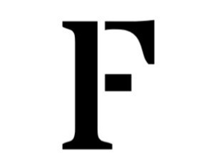 Letter F Stencil Made from 4 Ply Mat Board-Stardos Font