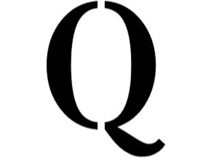 Letter Q Stencil Made from 4 Ply Mat Board-Stardos Font
