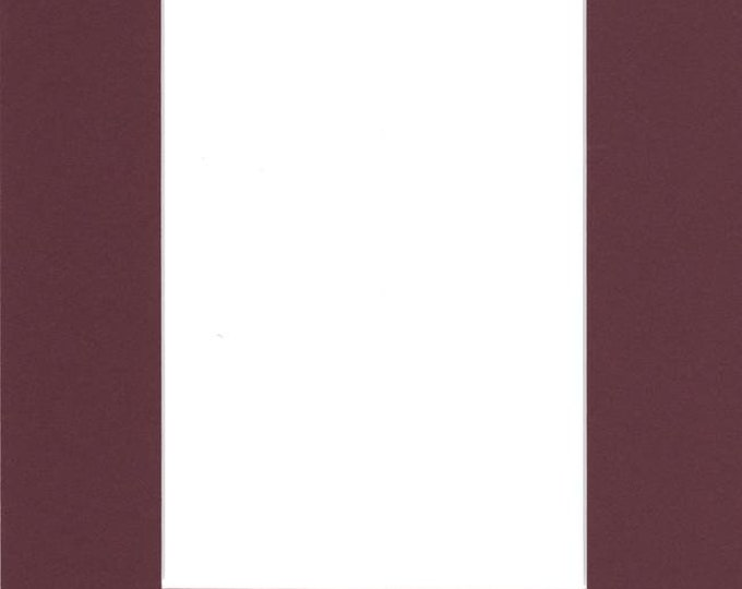 Pack of (5) 11x14 Acid Free White Core Picture Mats cut for 8x10 Pictures in Maroon