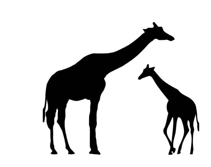 Pack of 3 Giraffe with Baby Stencils Made from 4 Ply Mat Board, 11x14, 8x10 and 5x7 -Package includes One of Each Size