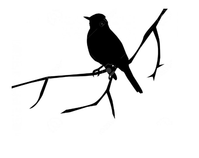 Bird on Branch Stencil Made from 4 Ply Mat Board-Choose a Size-From 5x7 to 24x36