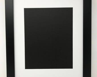 """18x24 1.25"""" Black Solid Wood Picture Frame with White Mat Cut for 12x18 Picture"""