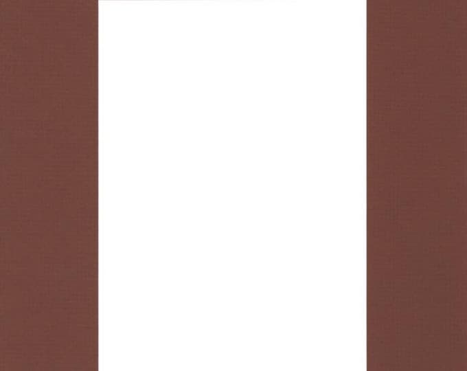 Pack of (5) 11x14 Acid Free White Core Picture Mats cut for 8x10 Pictures in Brown