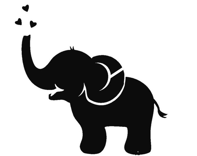 Pack of 3 Elephant with Hearts Style 2 Stencils Made from 4 Ply Mat Board, 11x14, 8x10 and 5x7 -Package includes One of Each Size