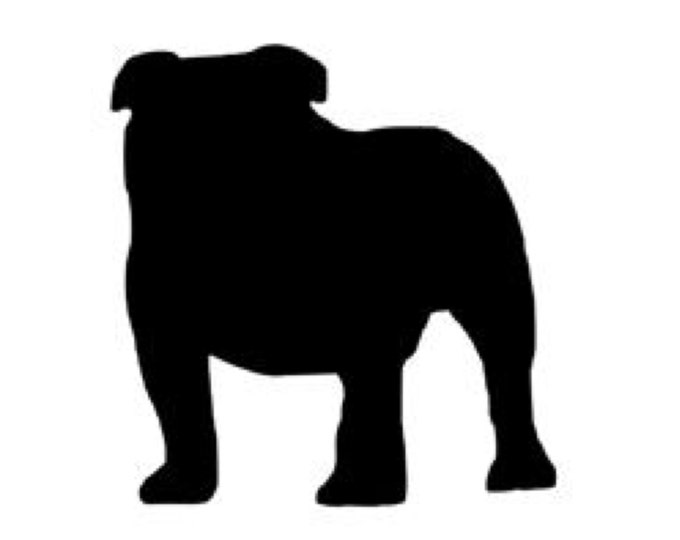 Pack of 3 Bull Dog Stencils Made from 4 Ply Mat Board, 11x14, 8x10 and 5x7 -Package includes One of Each Size
