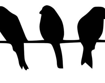 Pack of 3 Birds on Wire-5 Birds Stencils Made from 4 Ply Mat Board, 11x14, 8x10 and 5x7