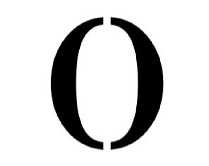 Letter O Stencil Made from 4 Ply Mat Board-Stardos Font