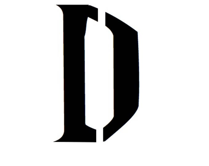 Letter D Stencil Made from 4 Ply Mat Board-Wizard Font