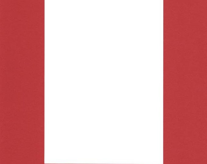 Pack of (5) 11x14 Acid Free White Core Picture Mats cut for 8x10 Pictures in Real Red