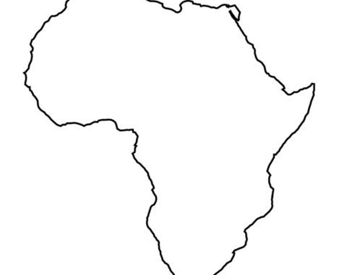 Africa Stencil Made from 4 Ply Mat Board