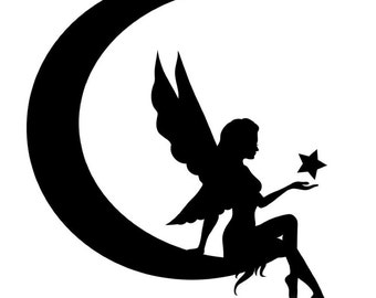 Pack of 3 Fairy on Moon Stencils Made from 4 Ply Mat Board, 11x14, 8x10 and 5x7 -Package includes One of Each Size