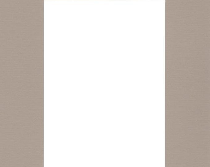 Pack of (5) 11x14 Acid Free White Core Picture Mats cut for 8x10 Pictures in Tan