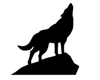 Wolf on Rock Stencil Made from 4 Ply Mat Board-Choose a Size-From 5x7 to 24x36
