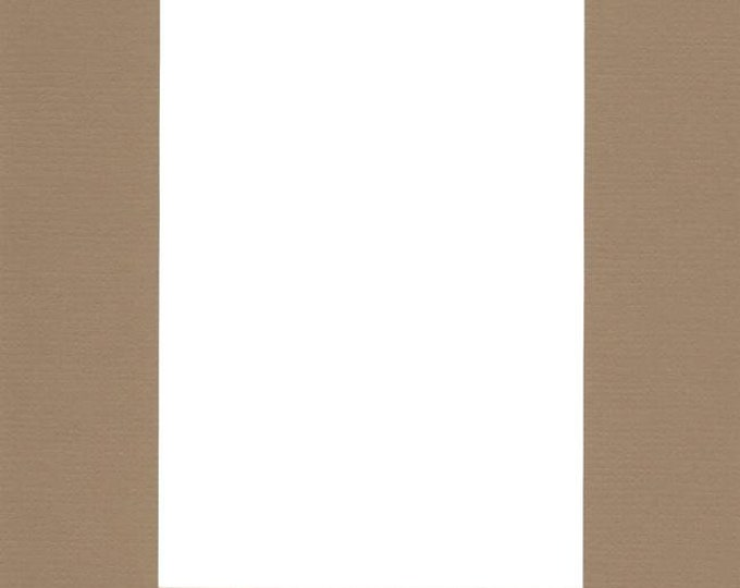 Pack of (2) 16x20 Acid Free White Core Picture Mats cut for 12x16 Pictures in Khaki