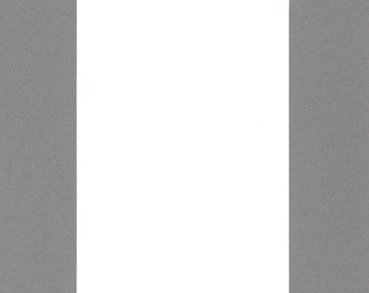 Pack of (5) 11x14 Acid Free White Core Picture Mats cut for 8x10 Pictures in Ocean Grey