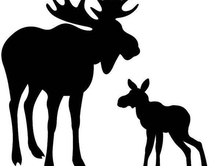 Moose and Baby Stencil Made from 4 Ply Mat Board-Choose a Size-From 5x7 to 24x36