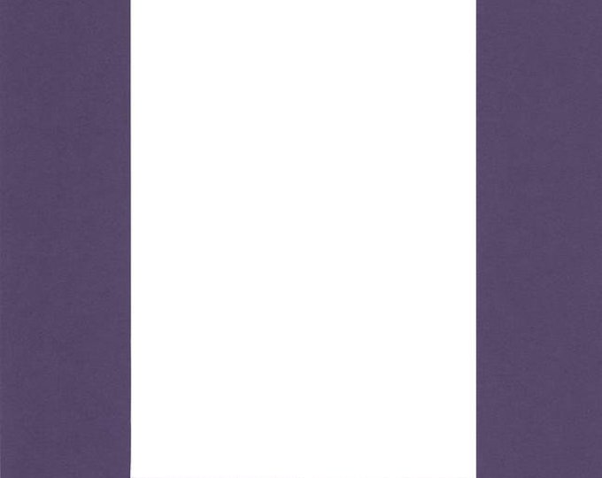 Pack of (5) 11x14 Acid Free White Core Picture Mats cut for 8x10 Pictures in Purple