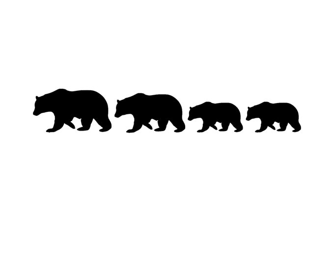 Bear Family Stencil, Four Bears, Stencil Made from 4 Ply Mat Board