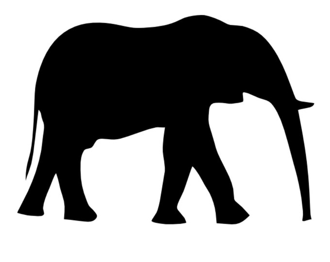 Elephant Stencil Made from 4 Ply Mat Board-Choose a Size-From 5x7 to 24x36