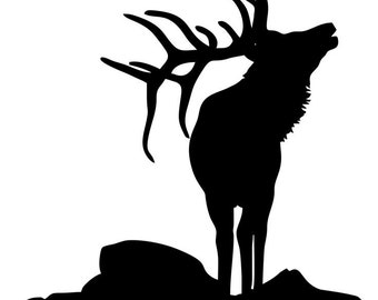 Pack of 3 Elk on Rock Stencils Made from 4 Ply Mat Board, 11x14, 8x10 and 5x7 -Package includes One of Each Size