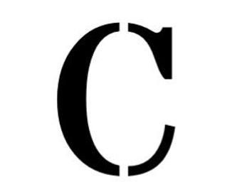 Letter C Stencil Made from 4 Ply Mat Board-Stardos Font