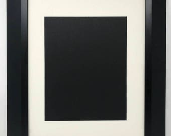 """18x24 2"""" 2"""" Black Beveled Contemporary Solid Wood Picture Frame with Cream Mat Cut for 13x19 Picture"""