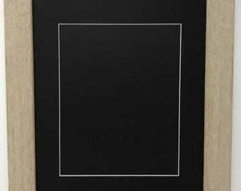 """20x24 1.75"""" Rustic Beige Solid Wood Picture Frame with Black Mat Cut for 16x20 Picture"""