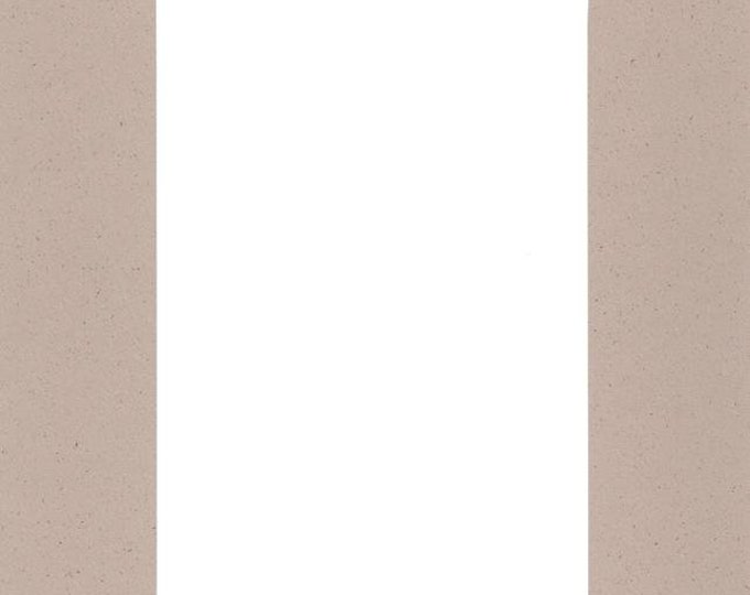 Pack of (5) 11x14 Acid Free White Core Picture Mats cut for 8x10 Pictures in Light Tan