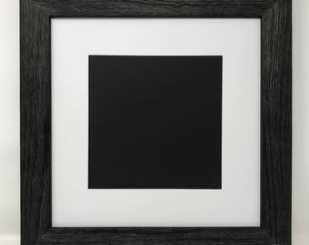 """12x12 Square 1.75"""" Rustic Black Solid Wood Picture Frame with White Mat Cut for 8x8 Picture"""