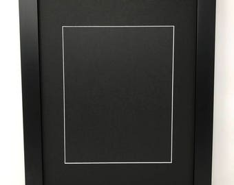 """12x16 1.25"""" Black Solid Wood Picture Frame with Black Mat Cut for 8x12 Picture"""