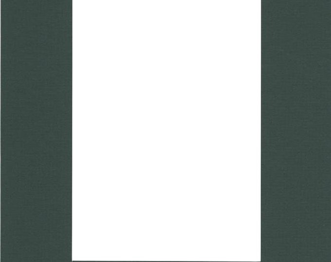 Pack of (2) 16x20 Acid Free White Core Picture Mats cut for 11x14 Pictures in Pine Green