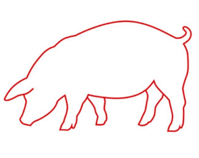 Pig Stencil Made from 4 Ply Mat Board-Choose a Size-From 5x7 to 24x36