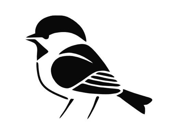Chickadee Stencil Made from 4 Ply Mat Board-Choose a Size-From 5x7 to 24x36