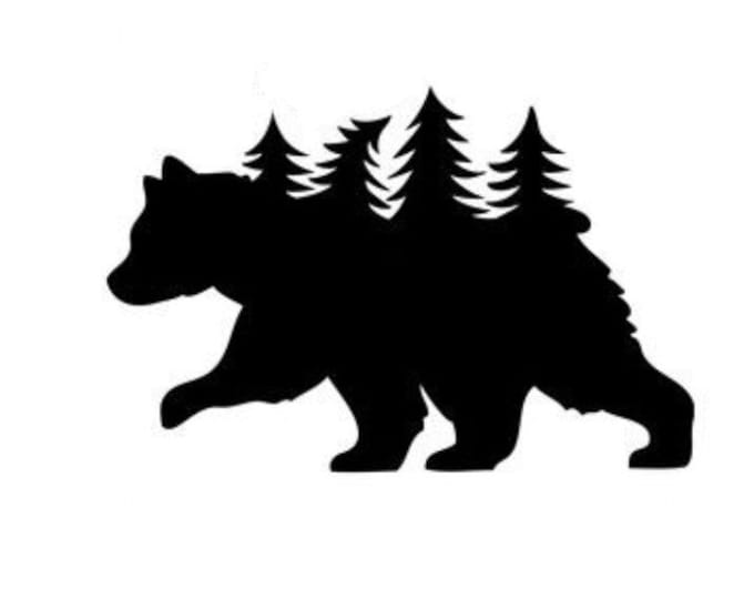Pack of 3 Bear with Trees Stencils Made from 4 Ply Mat Board, 11x14, 8x10 and 5x7 -Package includes One of Each Size