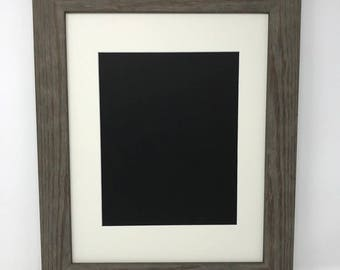 """11x14 1.75"""" Rustic Grey Solid Wood Picture Frame with Cream Mat Cut for8.5x11 Picture"""