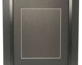 """18x24 2"""" 2"""" Black Beveled Contemporary Solid Wood Picture Frame with Black Signature Mat Cut for 11x14 Picture"""