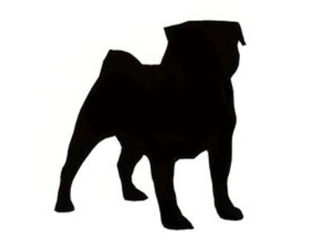 Pack of 3 Pug Dog Stencils Made from 4 Ply Mat Board, 11x14, 8x10 and 5x7 -Package includes One of Each Size